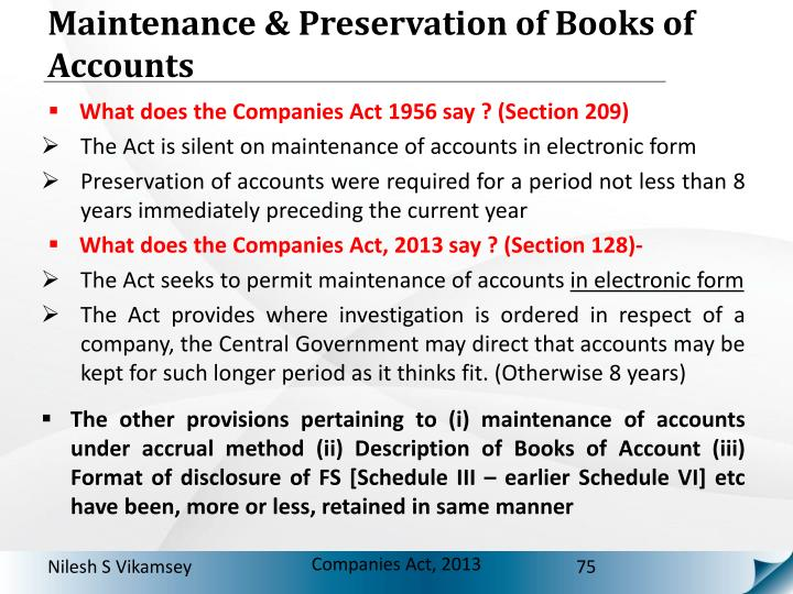 Maintenance & Preservation of Books of Accounts