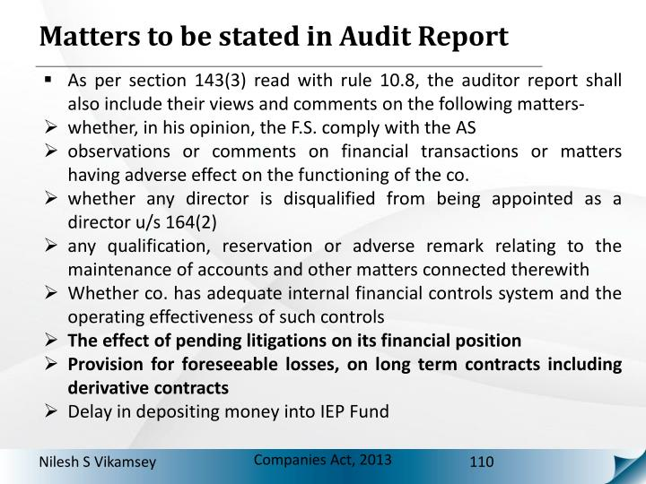 Matters to be stated in Audit Report