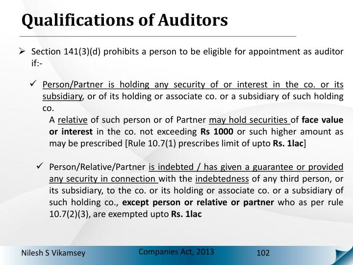 Qualifications of Auditors