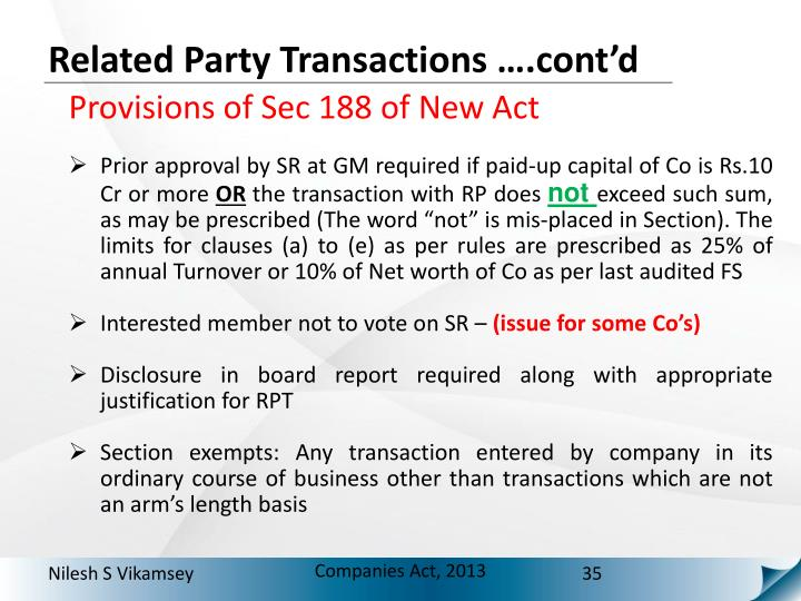 Related Party Transactions ….cont'd