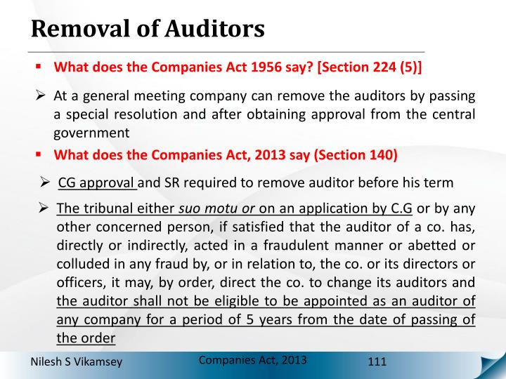 Removal of Auditors