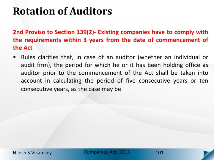 Rotation of Auditors