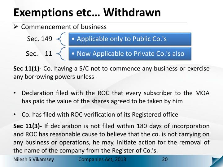 Exemptions etc… Withdrawn
