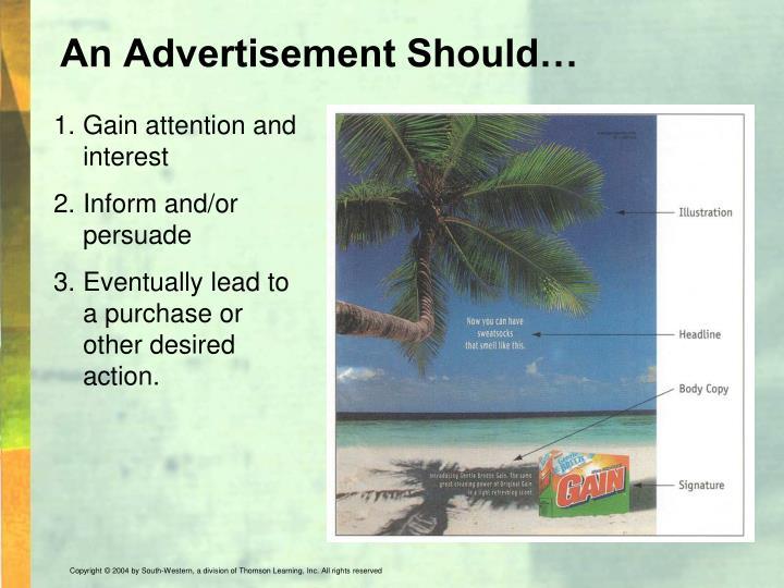An Advertisement Should…