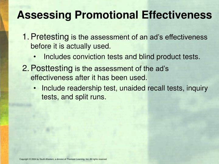 Assessing Promotional Effectiveness