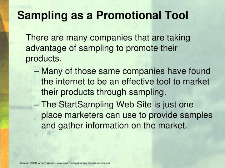 Sampling as a Promotional Tool