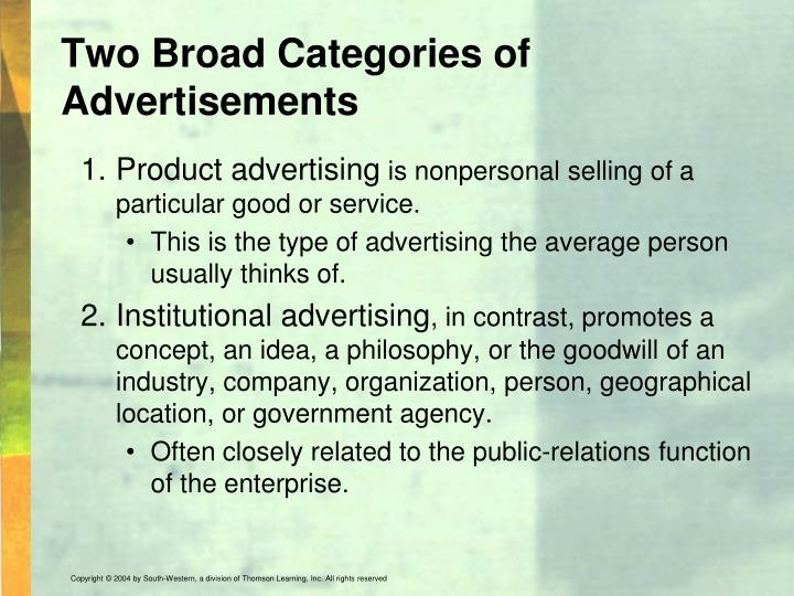 Two Broad Categories of Advertisements