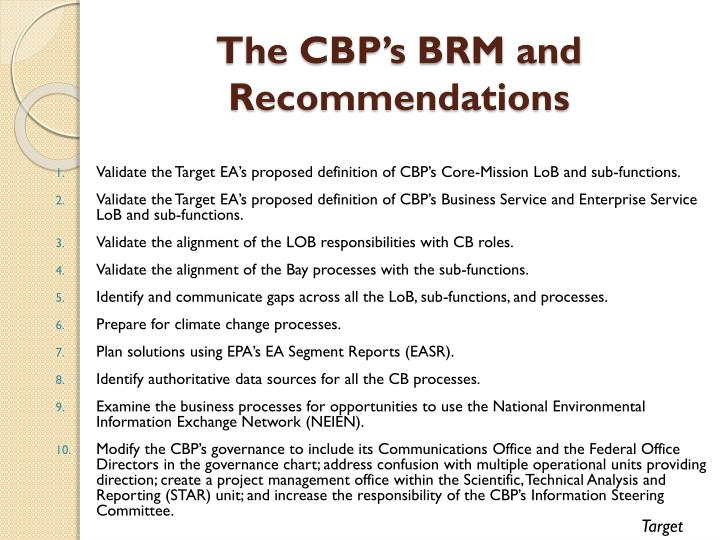 The CBP's BRM and Recommendations