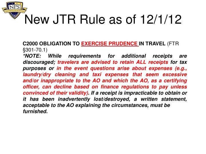 New JTR Rule as of 12/1/12
