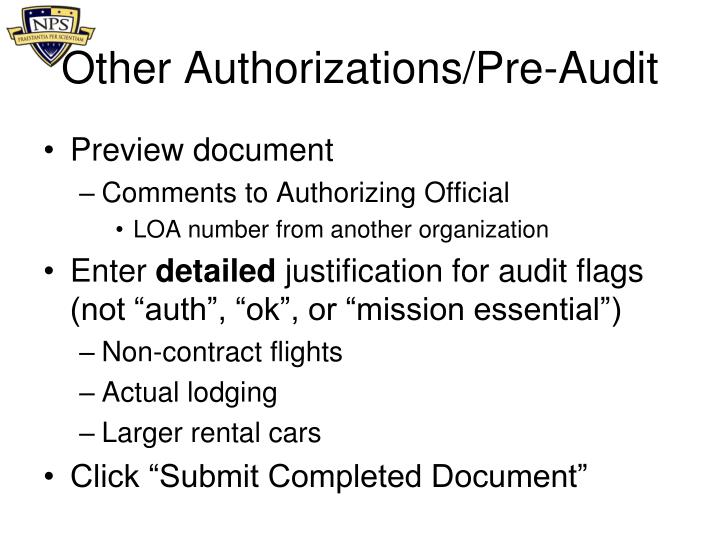Other Authorizations/Pre-Audit
