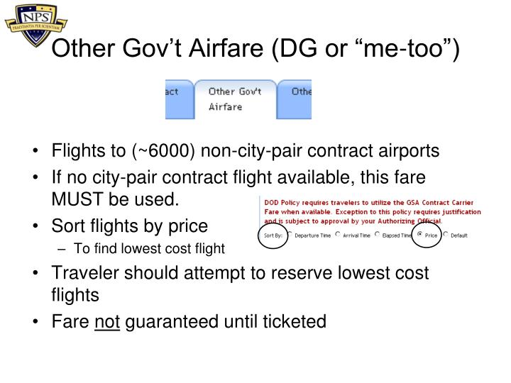 "Other Gov't Airfare (DG or ""me-too"")"