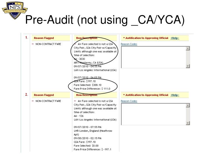 Pre-Audit (not using _CA/YCA)