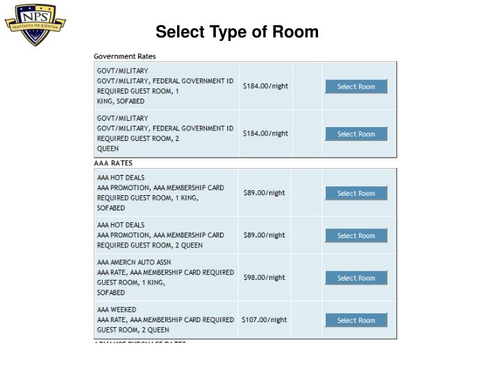 Select Type of Room