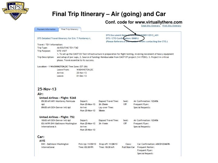 Final Trip Itinerary – Air (going