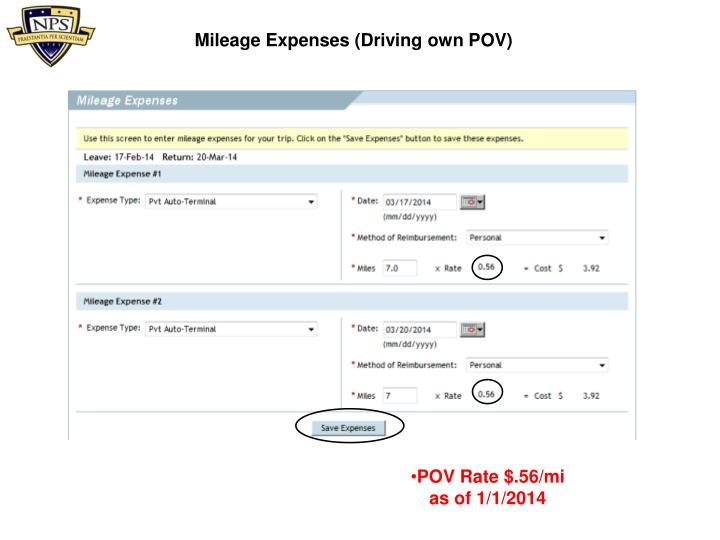 Mileage Expenses (Driving own POV)