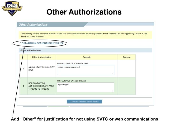 Other Authorizations