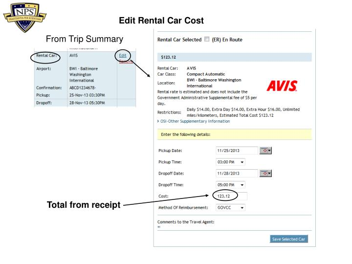 Edit Rental Car Cost
