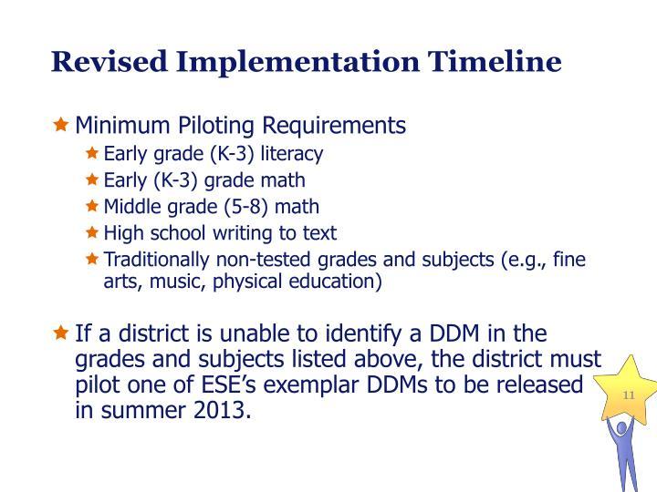 Revised Implementation Timeline