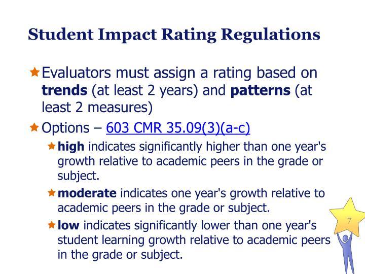 Student Impact Rating Regulations