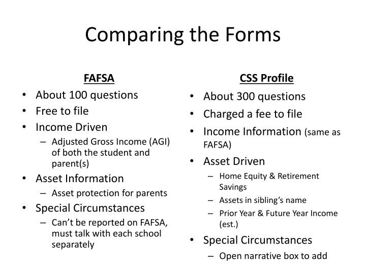 Comparing the Forms