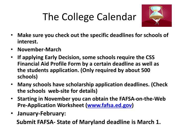 The college calendar