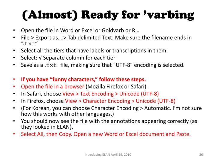 (Almost) Ready for 'varbing