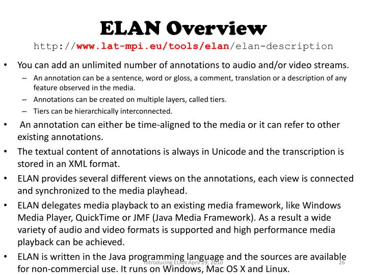 ELAN Overview