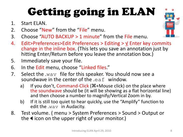 Getting going in ELAN