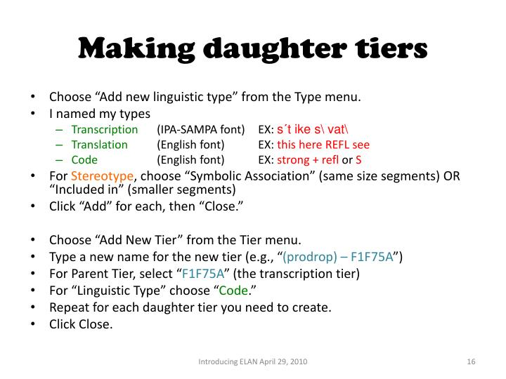 Making daughter tiers