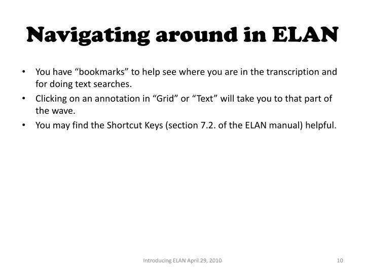 Navigating around in ELAN