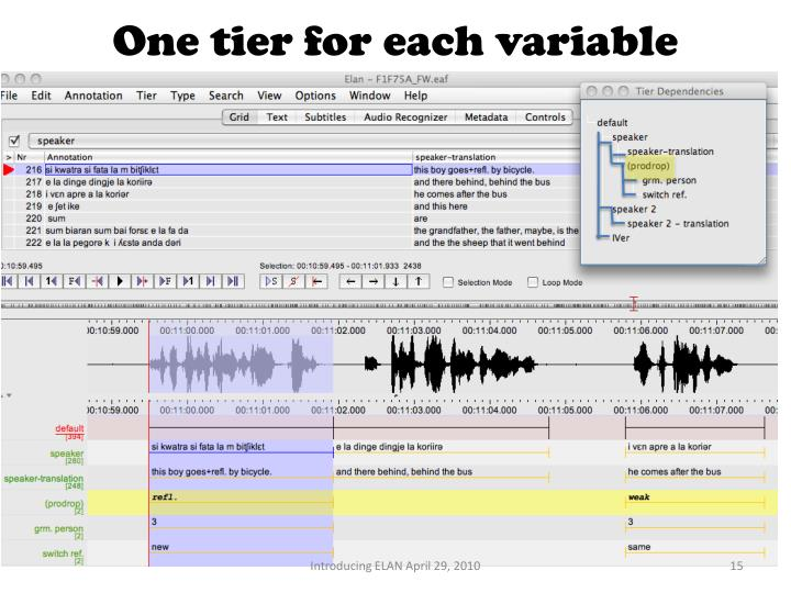 One tier for each variable