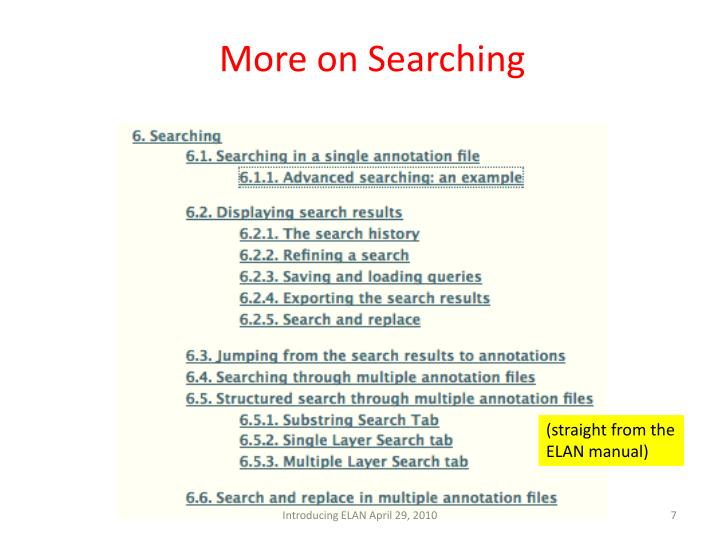 More on Searching