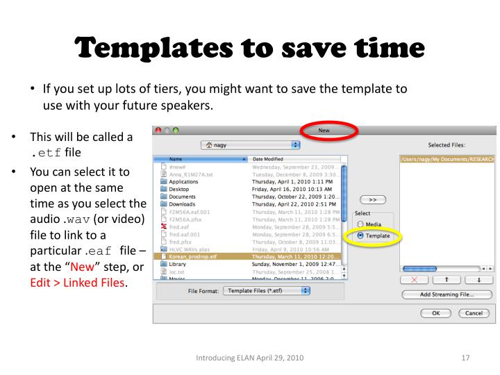 Templates to save time