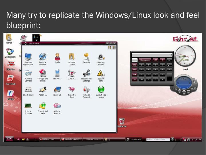 Many try to replicate the Windows/Linux look and feel blueprint: