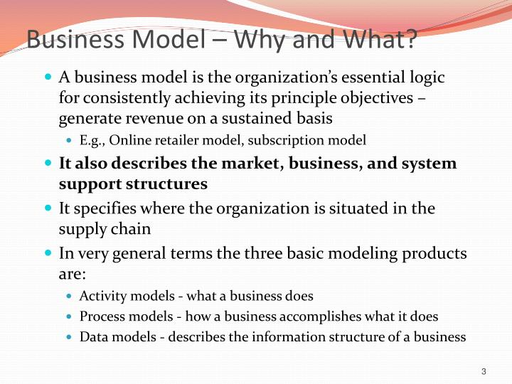 Business model why and what