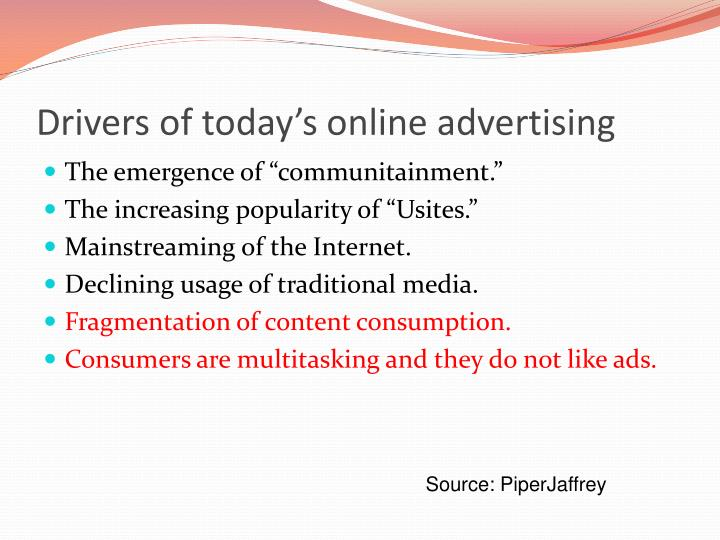 Drivers of today's online advertising