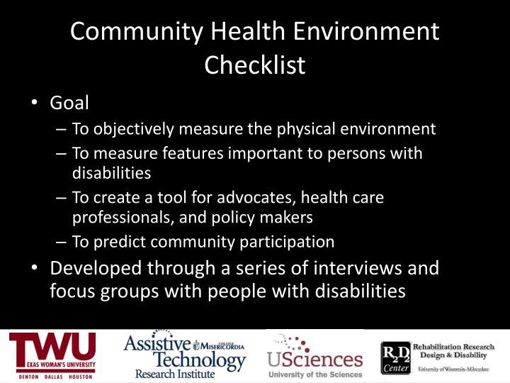 Community Health Environment Checklist