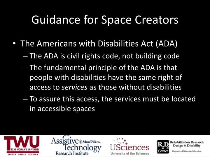 Guidance for Space Creators