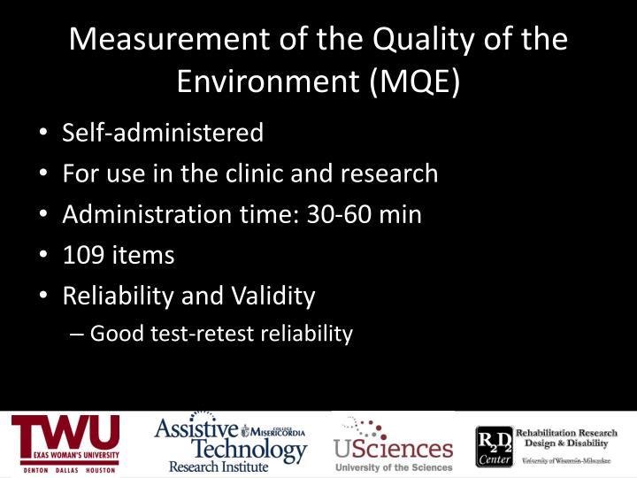 Measurement of the Quality of the Environment (MQE)