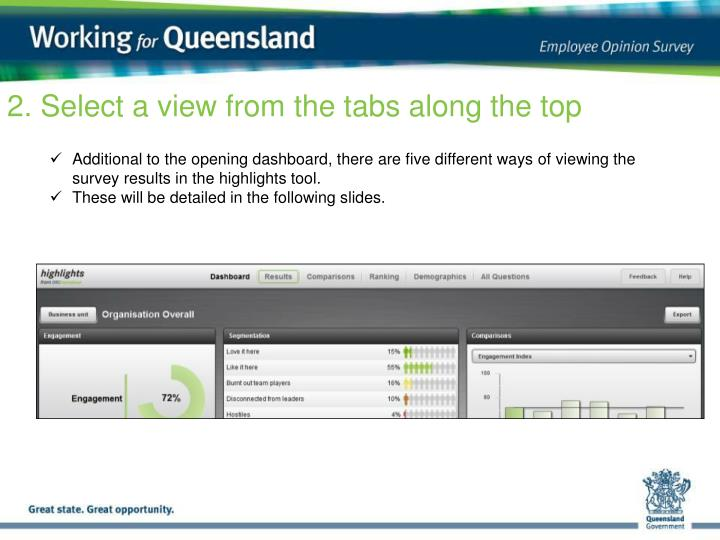2. Select a view from the tabs along the top