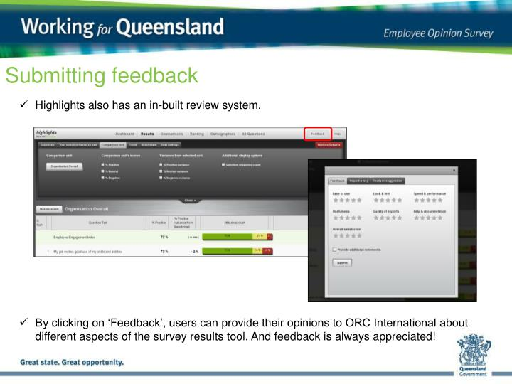 Submitting feedback