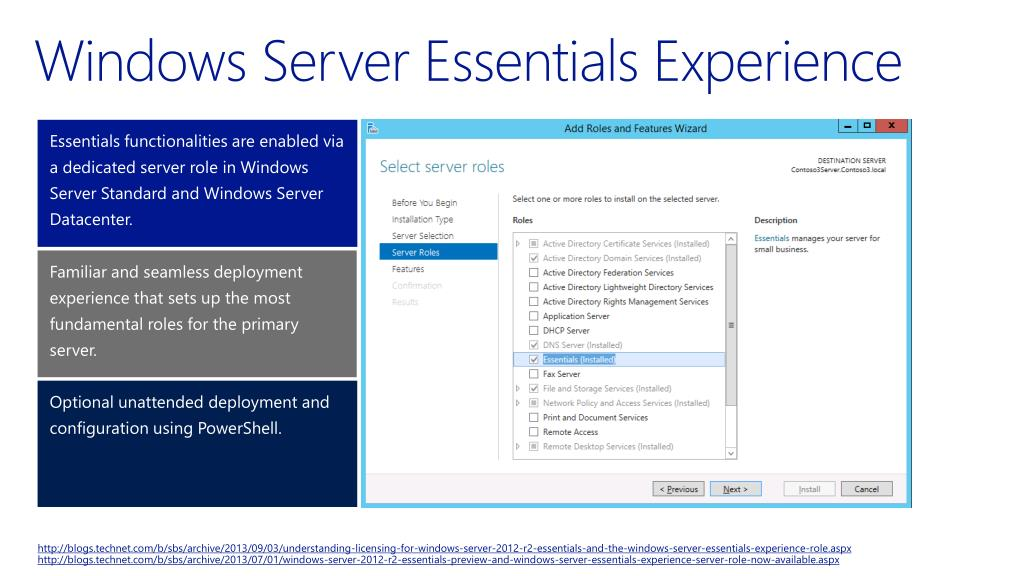 PPT - Windows Server 2012 R2 The Essentials Experience