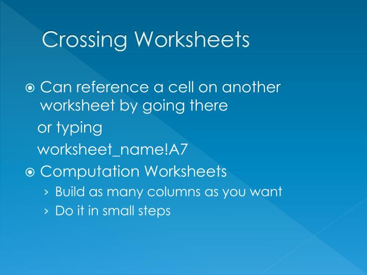 Crossing Worksheets