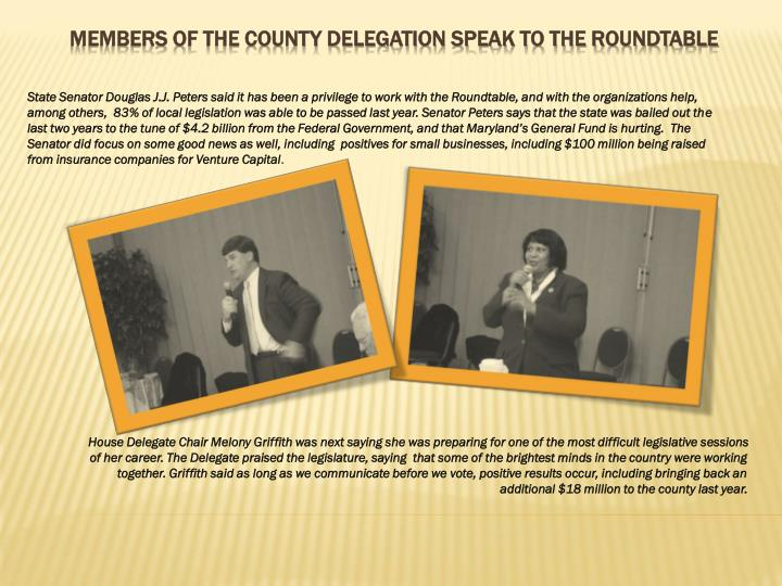 Members of the county delegation speak to the roundtable