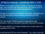 html5 is markup javascript apis css1