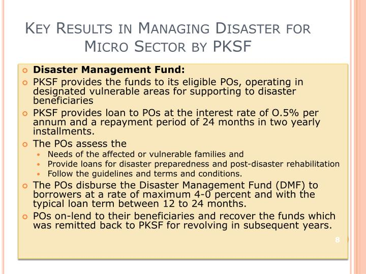 Key Results in Managing Disaster for Micro Sector by PKSF
