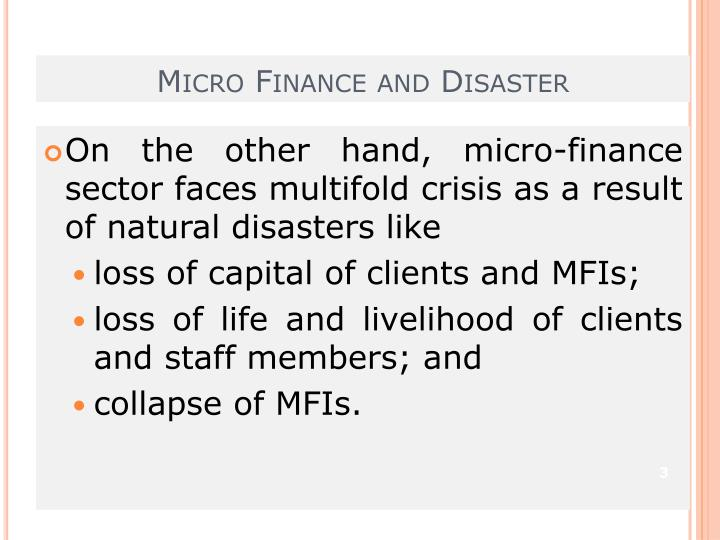 Micro finance and disaster