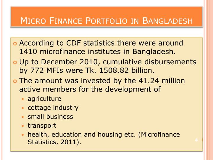 Micro Finance Portfolio in Bangladesh