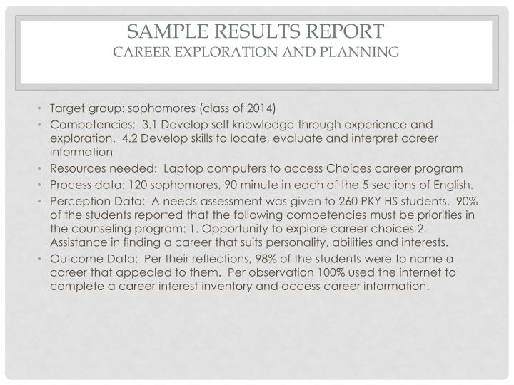 Sample results report