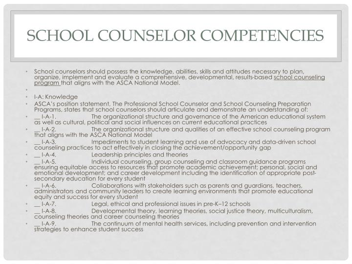 School Counselor Competencies